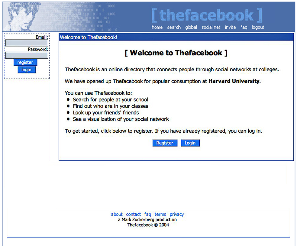 The First Version of Facebook - thefacebook